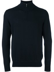 Z Zegna Zipped Roll Neck Pullover Blue