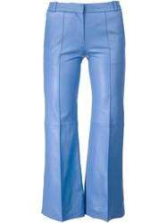 Barbara Bui Lambskin Cropped Trousers Blue