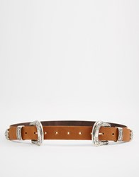 Asos Leather Double Buckle Western Tip Waist And Hip Belt Tan