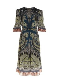 Etro Lace Insert Paisley And Graphic Print Dress Green Multi
