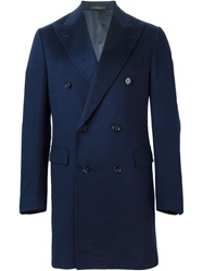 Corneliani Double Breasted Coat Blue