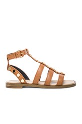 Balenciaga Studded Leather Gladiator Sandals In Neutrals Brown