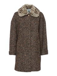 Dickins And Jones Tweed Coat With Detachable Faux Fur Collar Multi Coloured