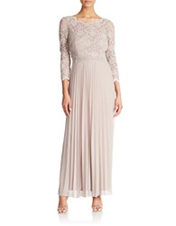 Cachet Pleated Lace Gown Taupe