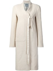 Maiyet Long Buckle Strap Coat White
