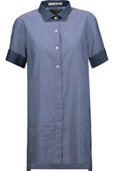 Acne Studios Capel Two Tone Cotton Chambray Shirt Indigo