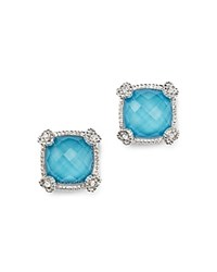 Judith Ripka Cushion Stud Earrings With White Sapphire And Turquoise Doublets Blue Silver