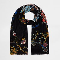 River Island Womens Black Oriental Print Long Scarf