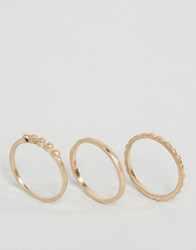 Selected Femme Moby Layering Ring Pack Gold