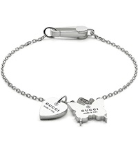 Gucci Heart And Butterfly Charm Bracelet Silver