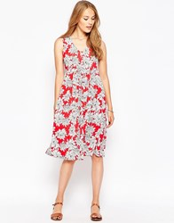 Influence Hawaii Skater Dress With Cut Out Back Red
