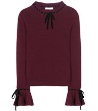 Roksanda Ilincic Cashmere And Wool Sweater With Velvet Purple