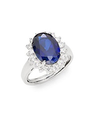 Cz By Kenneth Jay Lane Royal Classic Mixed Stone Ring Blue