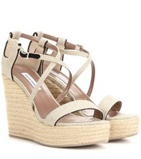 Tabitha Simmons Jenny 110 Canvas Wedge Sandals Beige