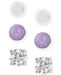 Jones New York Silver Tone Purple Stone And Crystal Stud Trio Earring Set