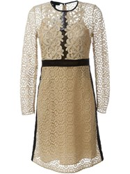 Burberry Prorsum Floral Lace A Line Dress Nude And Neutrals
