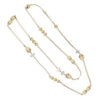 Nadia Minkoff Endless Pearl And Crystal Spike Necklace Yellow Gold Yellow Orange