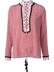 Dodo Bar Or Lace Up Peasant Blouse Red