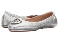 Tory Burch Minnie Travel Ballet Silver Women's Shoes