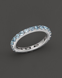 Bloomingdale's Blue Topaz Eternity Midi Ring In 14K White Gold Blue White