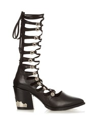 Toga Lace Up Leather Boots Black
