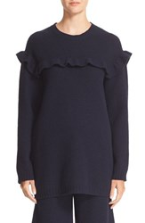 Red Valentino Women's Embroidered Ruffle Trim Wool Sweater