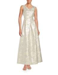 Ellen Tracy Floral Jacquard Gown Silver