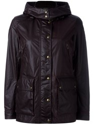Belstaff Leather Effect Hooded Jacket Pink And Purple