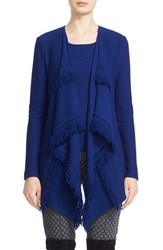 St. John Women's Collection Fringed Lattice Pique Knit Artisan Cardigan Prussian Blue
