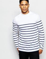 Asos Stripe Long Sleeve T Shirt With Turtle Neck White