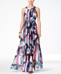 Vince Camuto Printed Pleated Halter Maxi Dress Pink Purple Teal