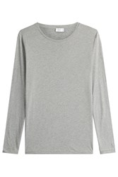 Closed Long Sleeved Cotton Top With Cashmere Grey