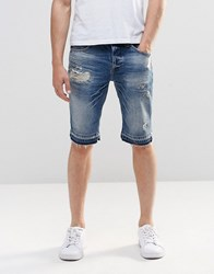 New Look Slim Denim Shorts With Abrasions And Frayed Hem Blue
