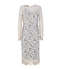 Pinko Embroidered Lace Dress Female Ivory