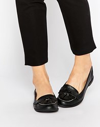 Head Over Heels By Dune Glynnis Black Patent Tassel Loafer Flat Shoes Black