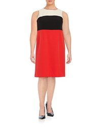 Nipon Boutique Plus Colorblocked Sheath Dress Paprika Multi