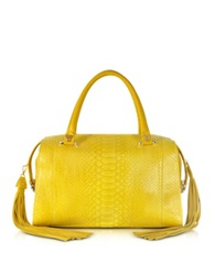 Ghibli Yellow Python And Leather Satchel W Fringe Tassel