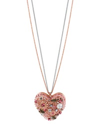 Betsey Johnson Vintage Pink Heart Pendant Necklace Pink Silver Gold