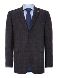 Chester Barrie Check Notch Collar Tailored Fit Formal Blazer Blue