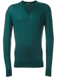 Dolce And Gabbana V Neck Sweater Green