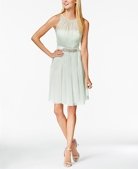 Adrianna Papell Belted Chiffon Halter Dress Mint