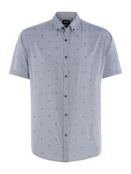 Only And Sons All Over Umbrella Print Short Sleeve Shirt Light Blue