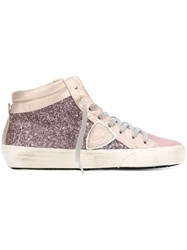 Philippe Model Glittery Metallic Hi Tops Pink And Purple