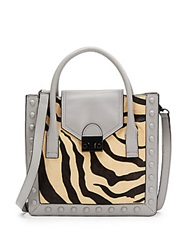 Loeffler Randall Print Calf Hair And Leather Tote Zebra Grey