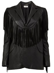 Saint Laurent Fringed Western Jacket Black
