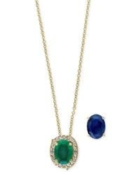 Effy Collection Brasilica By Effy Emerald 1 1 8 Ct. T.W. And Sapphire 1 1 2 Ct. T.W. Diamond Accented Interchangeable Pendant Necklace In 14K Gold Green