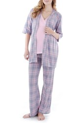Everly Grey Women's Susan 4 Piece Maternity Nursing Pajama Set Pink Plaid