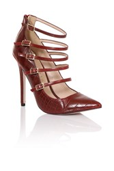 Paper Dolls Multi Buckle Court Shoes Dark Red