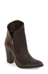 Charles David Women's Diamond Embossed Pointy Toe Bootie Chocolate Embossed Leather