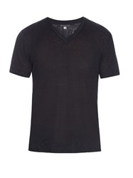 John Varvatos V Neck Linen T Shirt Navy